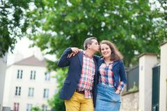 Happy couple walking in Paris Royalty Free Stock Photo