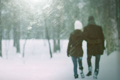 Happy couple walking in the park arm in arm Stock Images