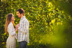 Happy couple walking at park Stock Photography