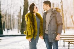 Happy couple walking through the park on a sunny winter day. Couple walking through the park and holding hands on a sunny winter day Royalty Free Stock Image