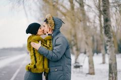 Happy couple walking through the park on a sunny winter day. Happy couple kissing and walking through the park on a sunny winter day Royalty Free Stock Photo
