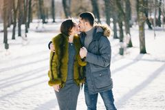 Happy couple walking through the park on a sunny winter day. Happy couple kissing and walking through the park on a sunny winter day Stock Images