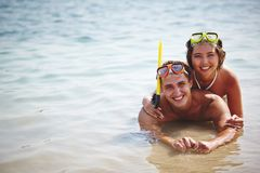 Happy couple in water Stock Photo