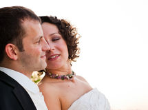 A happy couple after wedding. They are in love. After the wedding Stock Photo