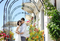Happy couple in wedding day in Italy Royalty Free Stock Image