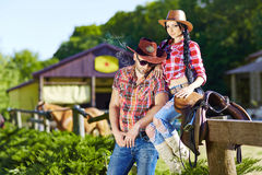 Happy couple a western style.Western love story.Western,cowboy,c Stock Images