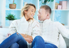 Couple in pullovers Stock Photos
