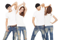 Happy couple with white t shirt. Front and rear view happy couple with white t shirt Royalty Free Stock Photography