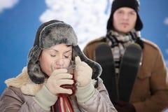 Happy couple at winter Royalty Free Stock Photos