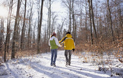 Happy couple in winter. Happy couple walking through a snowy forest in winter Royalty Free Stock Images