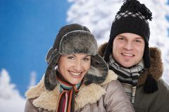 Happy couple at winter Stock Image