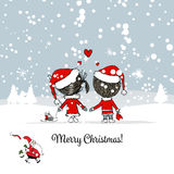 Happy couple in winter forest. Christmas card. Vector illustration Royalty Free Stock Photo