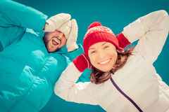 Happy couple in winter Royalty Free Stock Photography