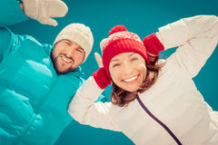 Happy couple in winter Royalty Free Stock Images
