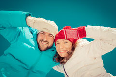 Happy couple in winter Royalty Free Stock Photo