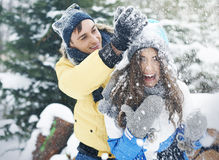 Happy couple in winter Stock Images