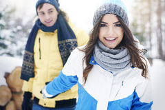 Happy couple in winter Stock Photography
