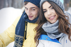 Happy couple in winter Stock Photo