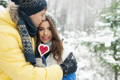 Happy couple in winter Stock Photos
