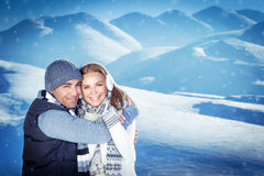 Happy couple on winter resort Stock Photography
