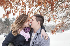 Happy couple winter vacation royalty free stock photo