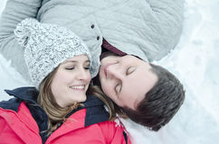 Happy couple winter vacation Royalty Free Stock Image