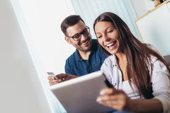 Free Happy Couple With Tablet Pc Computer And Credit Or Bank Card Shopping Online At Home Royalty Free Stock Images - 158732099