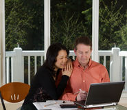 Happy Couple working at home Stock Photo