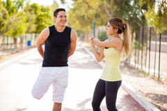 Happy couple working out together Stock Photo