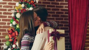 Happy couple at Xmas stock video footage