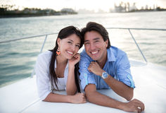 Happy couple in a yacht Royalty Free Stock Photo