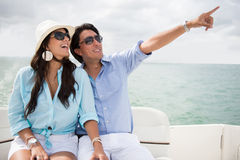 Happy couple in a yacht Stock Image