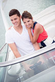 Happy couple on a yacht Stock Photos