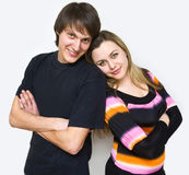 Happy couple of young adults portrait smiling Royalty Free Stock Photos