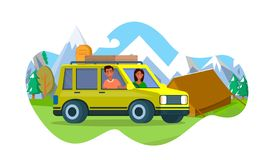 Man and Woman Stand by Yellow Car near Camp Tent. Happy Couple of Young Man and Woman Stand by Yellow Car near Camp Tent on Beautiful Mountains and Trees stock illustration