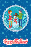 Happy couple of young people sculpts snowman. Vector illustration card congratulation new year. Royalty Free Stock Photo