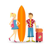 Happy couple young surf holiday summer travel Stock Photos