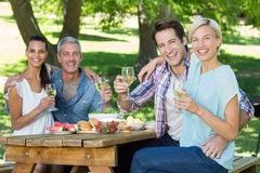 Happy couples drinking at the park Royalty Free Stock Photography