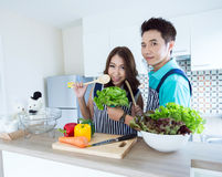 Happy couples in kitchen Stock Photo