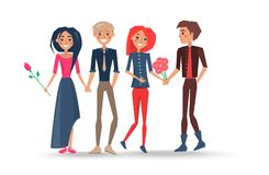 Happy Couples in Love, Pairs of Boys Girls Lovers. Happy couples in love, pairs of boys and girls lovers, woman holding flower gifts in hands vector illustration Royalty Free Stock Photo