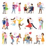 Happy Couples in Love Surrounded with Small Hearts. On romantic dates, hug tight, whirl in dance and make presents cartoon vector illustrations set Stock Photography