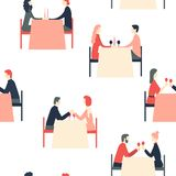 Happy couples sitting at restaurant table. Happy Valentine`s Day. Romantic dinner. Happy couples sitting at restaurant table. Vector seamless pattern stock illustration