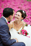 Happy couples on wedding walk royalty free stock image