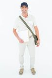 Happy courier man holding envelops Royalty Free Stock Photos