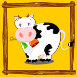 Happy cow. Vector illustration depicts a cow in cartoon style, on a yellow background with a wooden frame that mimics a compound Stock Images