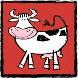 Happy Cow. Illustration of a very happy cow on a red background Stock Photos