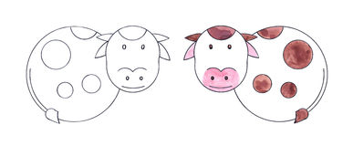 Happy cow. Black and white and colored drawing vector illustration