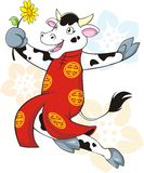 Happy Cow. A colorful illustration of a happy dancing cow in Chinese costume and holding a flower, ideal for the year of cow royalty free illustration