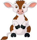Happy cow cartoon sitting Stock Photography