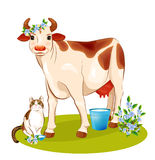 Happy cow and cat. Illustration of happy cow and cat Royalty Free Stock Image